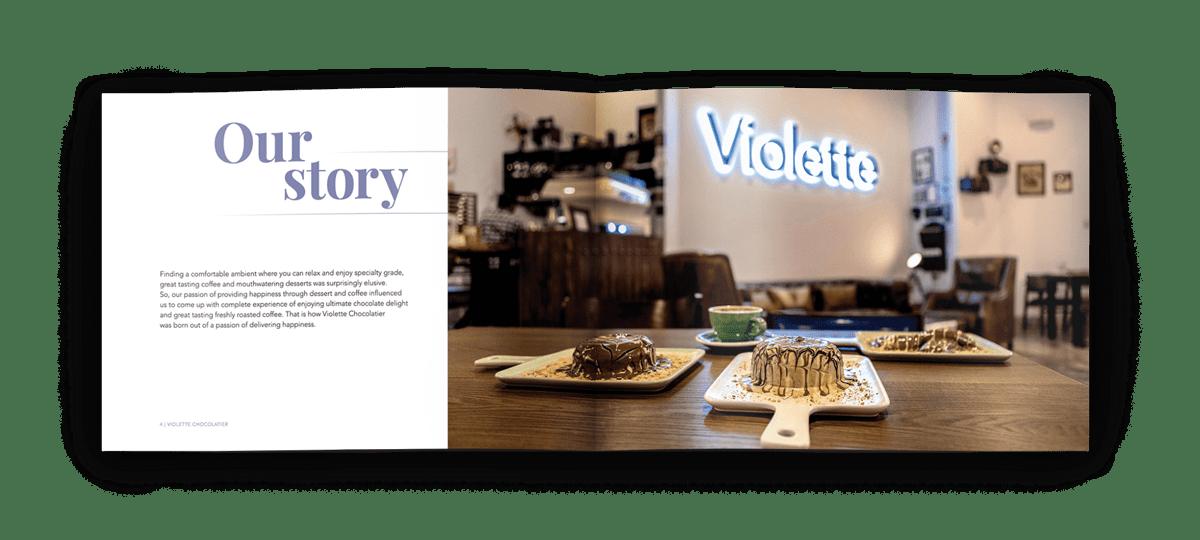 velvetmade Violette Chocolatier chocolate product catalog design